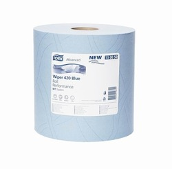 Бумага протирочная TORK Advanced Wiper 420 Blue W1 Perfomance САЛФЕТКА многоцелевая  W1 System  1500л  2-сл  510/37 Голубой (БОЛЬШОЙ РУЛОН) 1/1