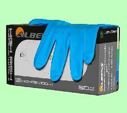 Перчатки латексные Albens текстурированные удлиненные повышенной прочности 50пар/уп