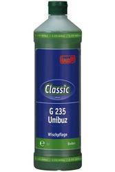 G 235 Unibuz. Профессиональное концентрированное моющее и ухаживающее средство на основе водорастворимых полимеров. Уровень рН (концентрат): 6.5–7.5   1л