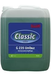 G 235 Unibuz. Профессиональное концентрированное моющее и ухаживающее средство на основе водорастворимых полимеров. Уровень рН (концентрат): 6.5–7.5  10л