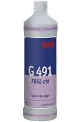 G 491 Erol cid. Профессиональное концентрированное чистящее средство для основательной чистки поверхностей на основе фосфорной кислоты. Уровень рН (концентрат): 0.5-1   1л