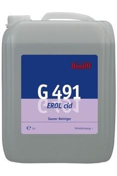 G 491 Erol cid. Профессиональное концентрированное чистящее средство для основательной чистки поверхностей на основе фосфорной кислоты. Уровень рН (концентрат): 0.5-1  10л