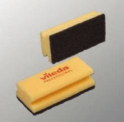 Губка Виледа (черный абразив) 7х15 см ЖЕЛТАЯ (10шт/упак) (10упак/кор)