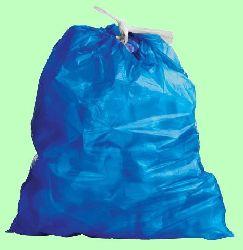 Мешки для мусора 30л 500*600мм 11мкм голубые с завязкой 30шт/рул 06108  20рул/кор