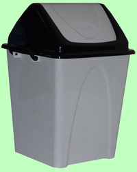 Ведро пластмассовое 20л с плавающей крышкой мрамор/черное Т167