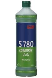 S 780 КОРИДОР® дэйли. Профессиональное концентрированное моющее и ухаживающее средство на основе водорастворимых полимеров. Уровень рН (концентрат): 8-9   1л