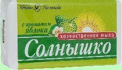 Мыло хозяйственное 140г СОЛНЫШКО Яблоко 1/4/48