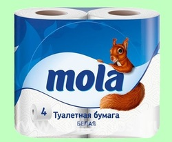 Туалетная бумага МОЛА  2слоя  4рул/упак  Белая 1/10