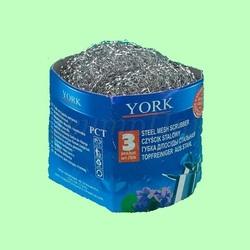 Губка для посуды YORK 0301 металл/стальная 3шт/уп  1/80