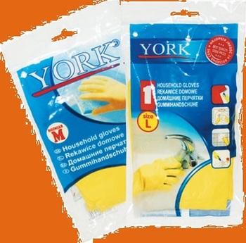 Перчатки резиновые YORK 9201 размер М  (12пар/уп)  (144пары/кор)